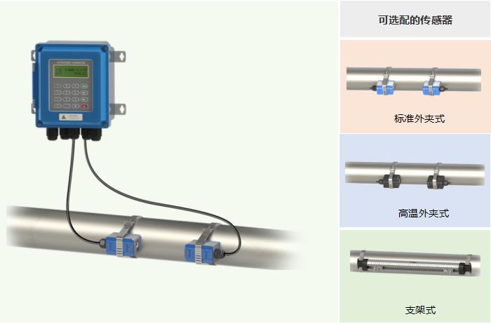 壁掛外夾式超聲波流量計,可選配的傳感器