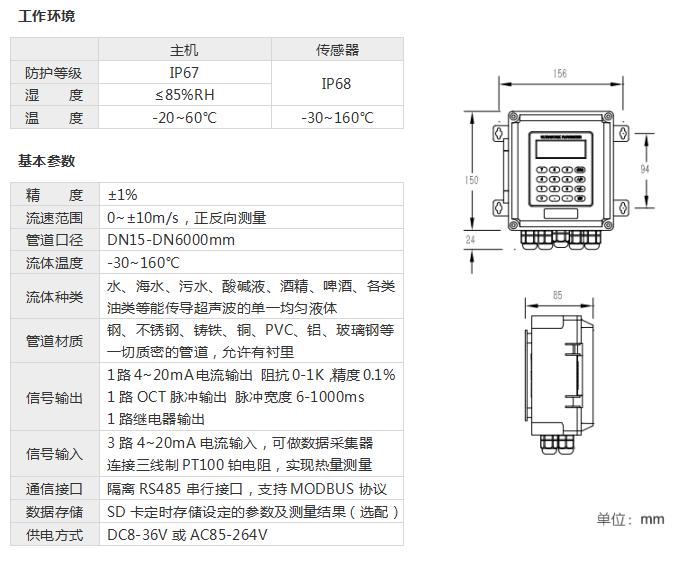壁掛外夾式超聲波流量計,工作環境和基本參數